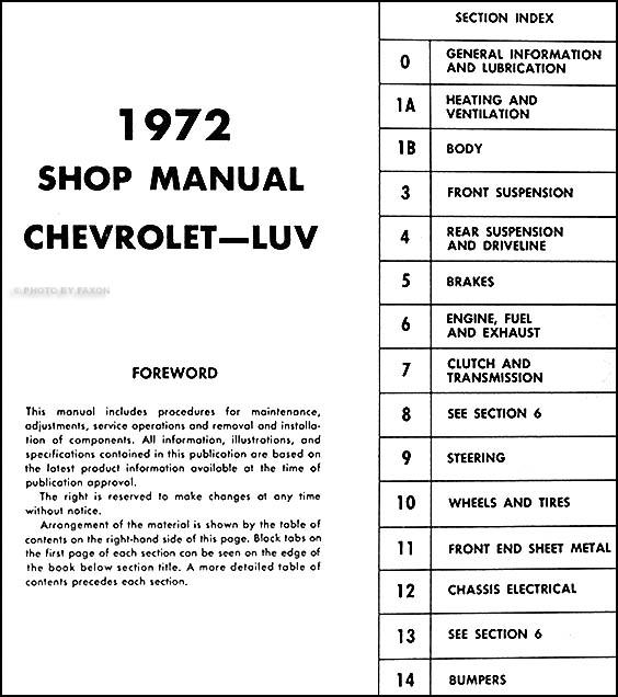 1972ChevLuvORM TOC 1972 chevy luv repair shop manual original 1980 Chevy Luv 4x4 at readyjetset.co
