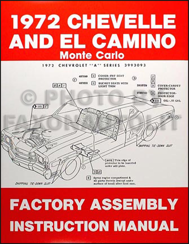 1972 Chevelle Ss Monte Carlo El Camino Gmc Sprint Assembly Manualrhfaxonautoliterature: 72 El Camino Wiring Diagram At Gmaili.net