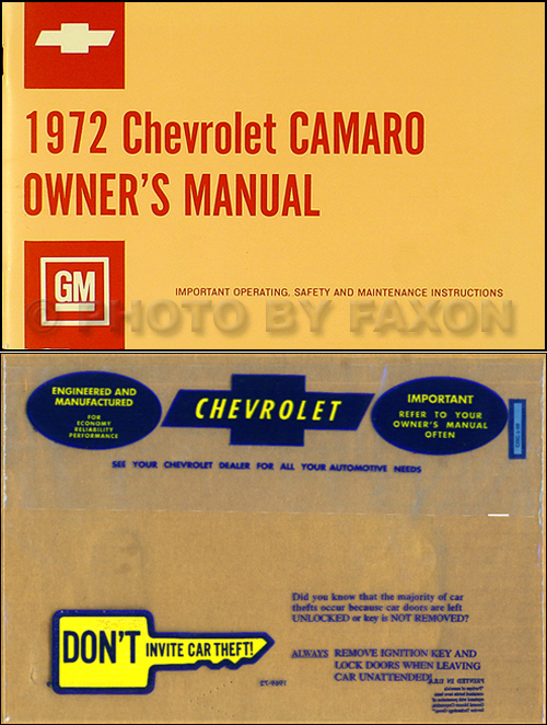 1972 Camaro Owner's Manual Package Reprint RS, SS, Z28 Z 28