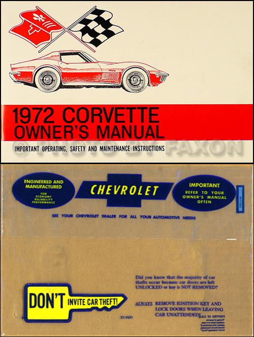 1972 corvette stingray owner s manual package reprint rh faxonautoliterature com 1987 corvette owners manual download 1987 corvette owners manual