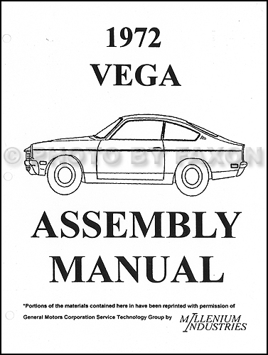 1972 Chevrolet Vega Factory Assembly Manual Chevy