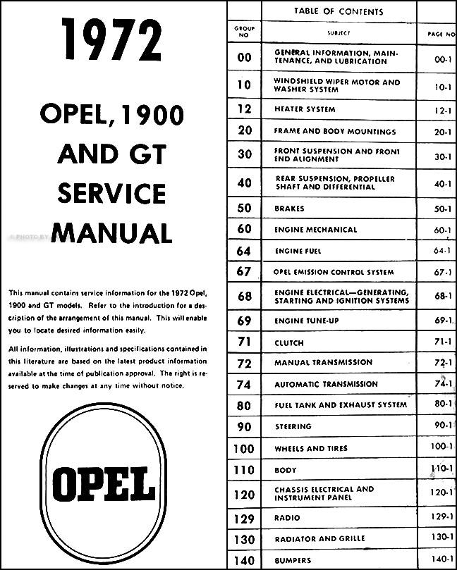 1972 Opel GT amp 1900 Repair Shop Manual Original
