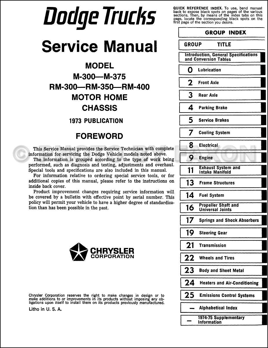 19731975 Dodge Motor Home Chassis Repair Shop Manual Reprint M – Dodge Rv Wiring Diagram