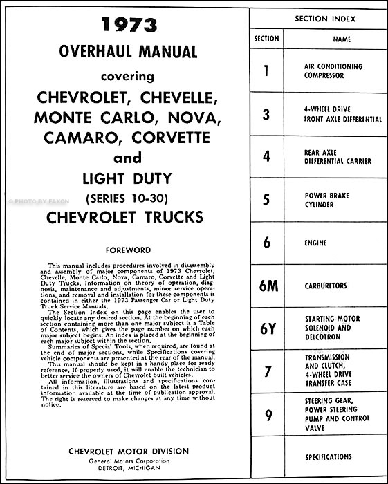 1973ChevCarTruckOverhaul TOC 1973 chevy car and 10 30 truck overhaul manual original 1970 Chevy Wiring Diagram at eliteediting.co