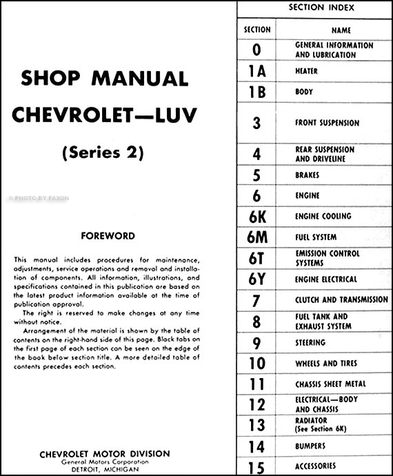 1973 Series 2 Chevy Luv Repair Shop Manual Original