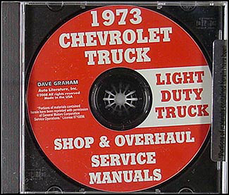 1973 Chevy Pickup and Truck CD-ROM Shop Manual & Overhaul Manual