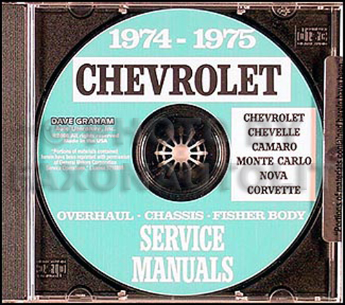 1974-1975 Chevy CD-ROM Shop, Overhaul and Body Manuals