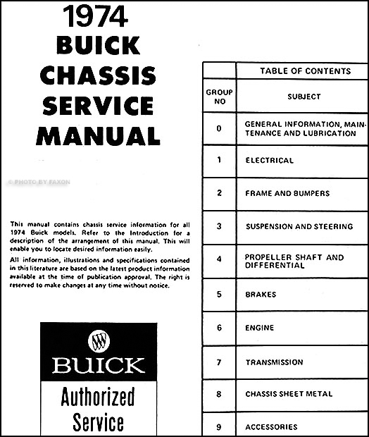 1974 Buick Shop Manual Riviera Lesabre Electra Regal Century Apollo Repair 74