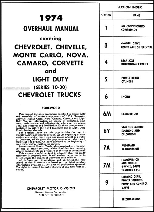1974 chevrolet truck engine tranny overhaul manual 74 pickup van blazer suburban ebay. Black Bedroom Furniture Sets. Home Design Ideas