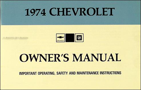 1974 Chevy Car Wiring Diagram Manual Reprint Impala ...