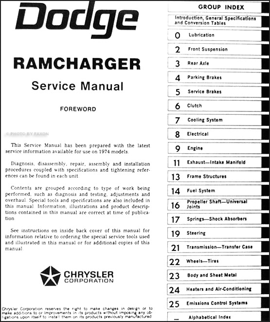 1974DodgeRamchargerORM TOC 1974 dodge ramcharger repair shop manual original 1974 dodge truck wiring diagram at bayanpartner.co