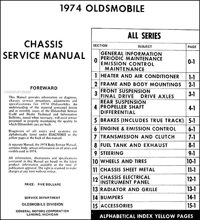1974 Oldsmobile Repair Shop Manual Original All Seriesrhfaxonautoliterature: 1974 Oldsmobile Omega Wiring Diagram At Oscargp.net