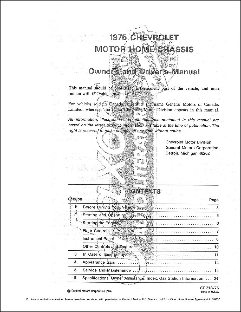 1975 chevrolet motorhome chassis owner u0026 39 s manual reprint
