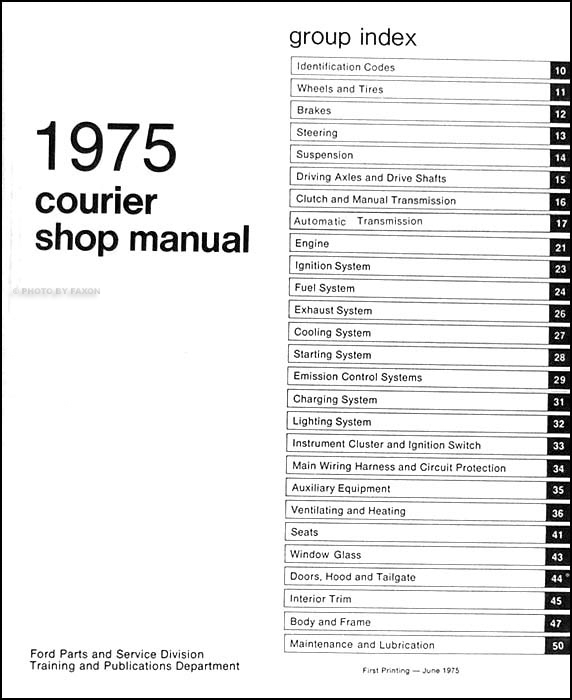 1975CourierORMTOC 1975 ford courier pickup repair shop manual original electrical wiring diagram ford courier at gsmportal.co