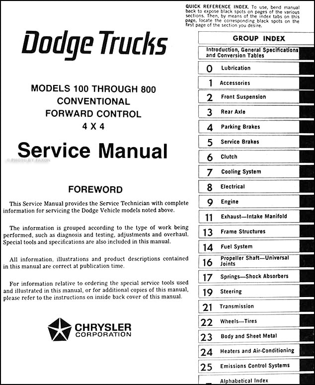 1975 dodge 100 800 truck repair shop manual original