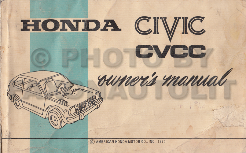 1975 Honda Civic CVCC Owner's Manual Original