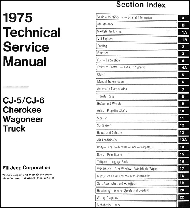 1975 Jeep Repair Shop Manual Cj5 Cj6 Renegade Cherokee Wagoneer Truck J10 J20 75