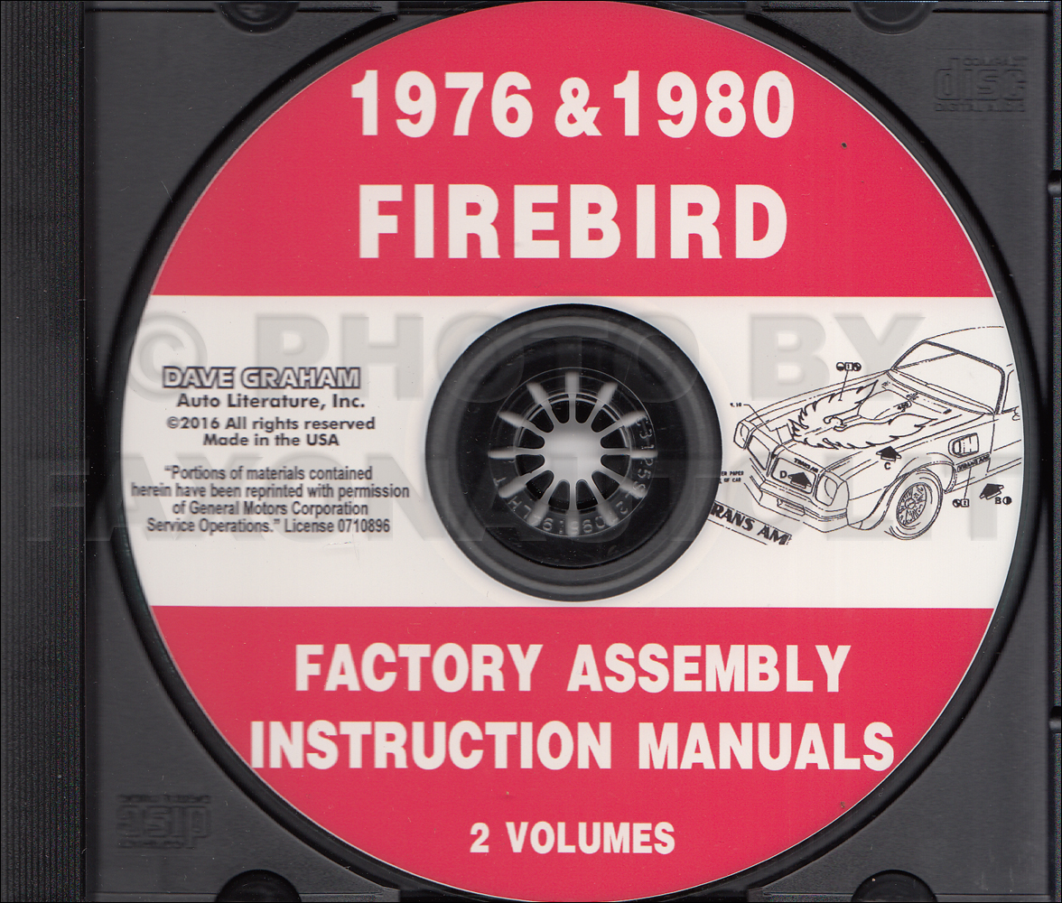 Cd Rom 1976 And 1980 Pontiac Firebird Trans Am Factory Assembly Wiring Diagram Manual