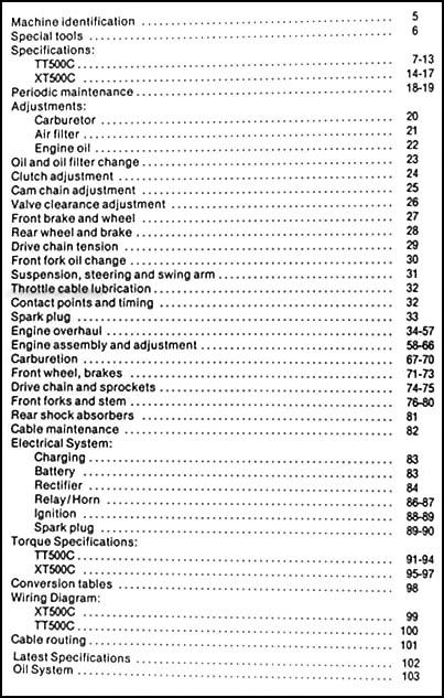 yamaha tt500 and xt500 motorcycle repair shop manual enduro table of contents