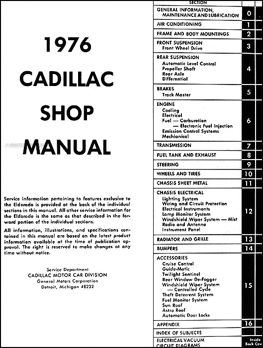 1976CadillacORM TOC 1976 cadillac repair shop manual original El Dorado Movie at readyjetset.co