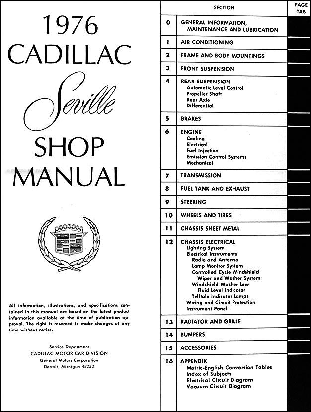 1976 Cadillac Seville Repair Shop Manual Original