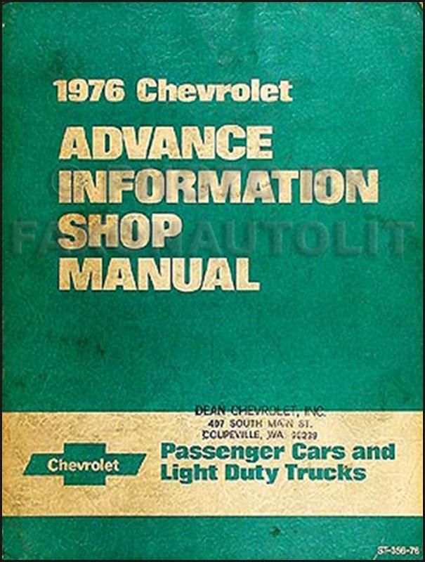 1976 Chevrolet Advance Information Preliminary Repair Shop Manual Original