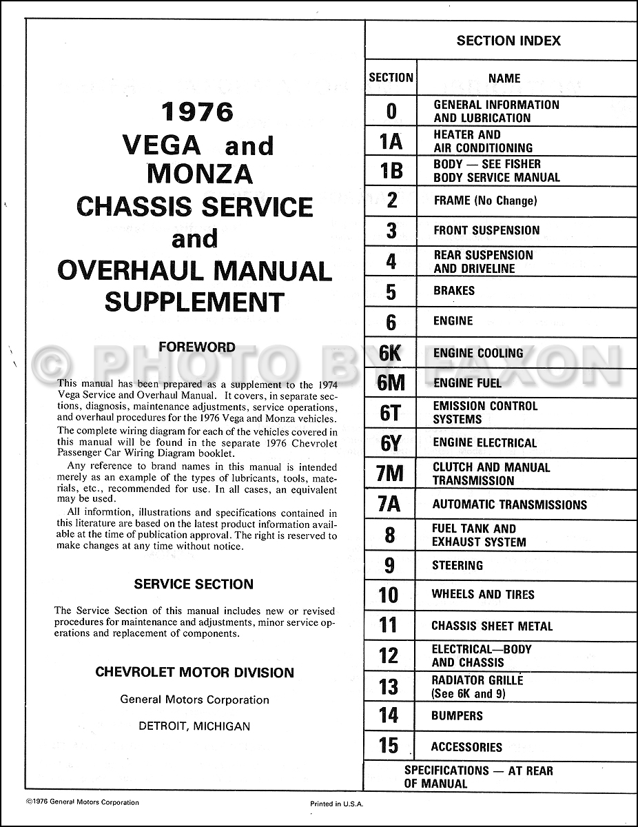 1976 Chevrolet Vega  U0026 Monza Repair Shop Manual Supplement