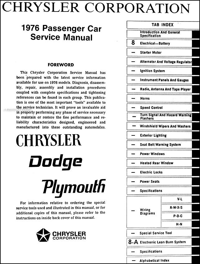 1976 Chrysler Plymouth Dodge Car Repair Shop Manual Original Setrhfaxonautoliterature: 1977 Chrysler Cordoba Wiring Diagram At Oscargp.net