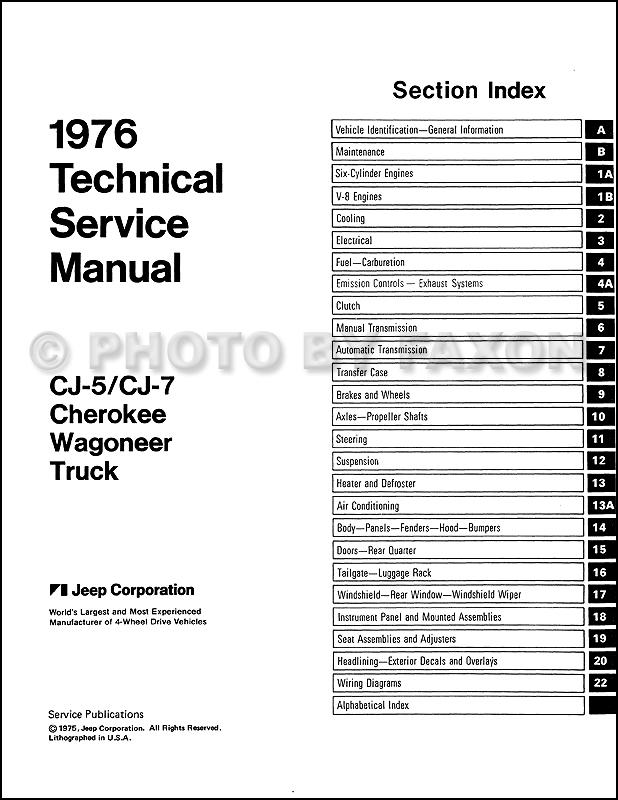 1976 jeep repair shop manual reprint