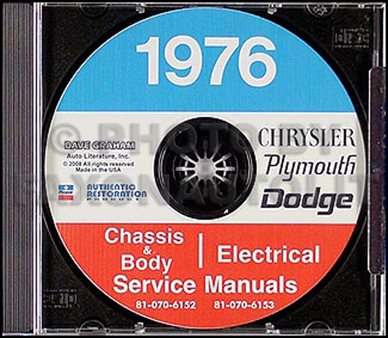 1976 Dodge, Plymouth, Chrysler Repair Shop Manual On CD-ROM