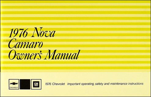 1976 Nova & Camaro Owner's Manual Reprint