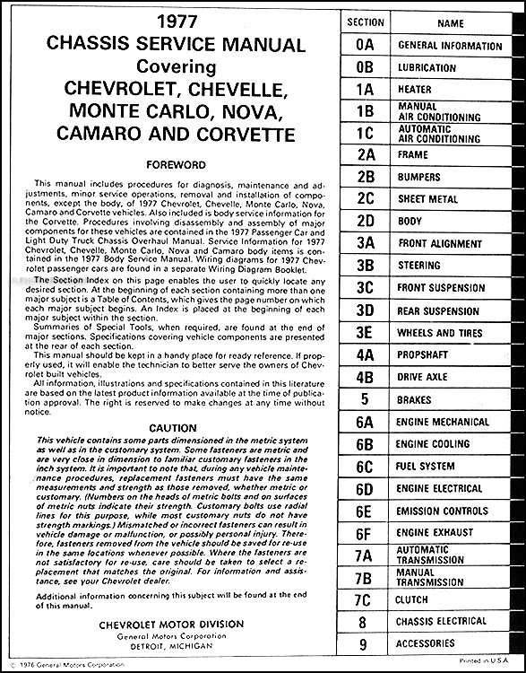 1977 chevy car repair shop manual original camaro chevelle monte rh faxonautoliterature com