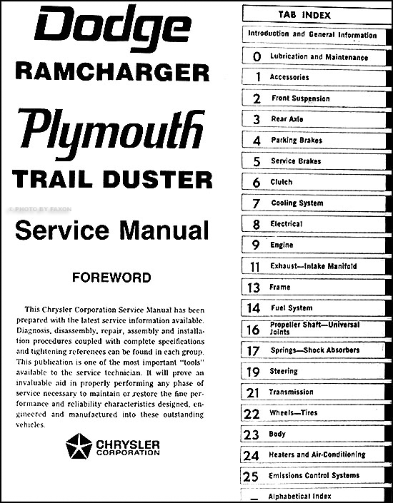 1977 1978 dodge ramcharger and plymouth trail duster repair shop manual