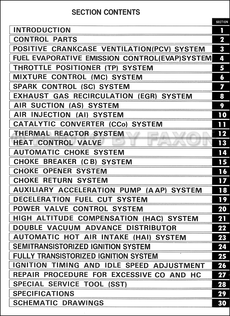1977ToyotaCorollaUSAOnlyECM TOC 1977 1977 5 toyota emission control repair manual original no 98159 ra29 wiring diagram at pacquiaovsvargaslive.co