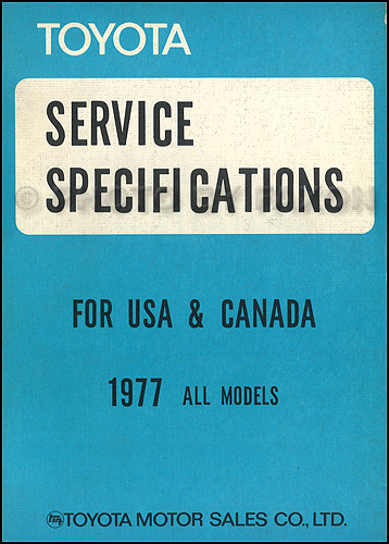 1977-1977.5 Toyota Service Specs Manual Original No. 98161