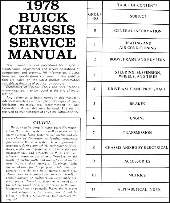 1978 Buick Shop Manual And Body Cd Riviera Lesabre Electra