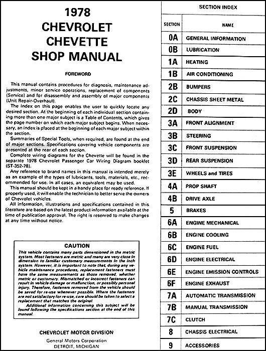 1978 Chevy Chevette Repair Shop Manual Original
