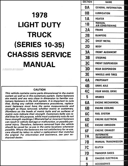 1978ChevLDTORM TOC 1978 chevrolet pickup, blazer, van, & suburban repair shop manual 1984 Chevy K-Series Fuse Box at bakdesigns.co
