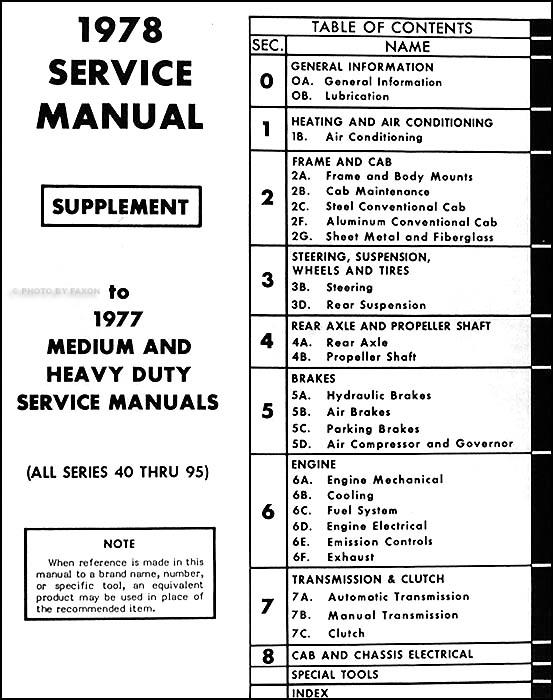 1978 Chevrolet 4095 Medium Heavy Truck Service Manual Supplement