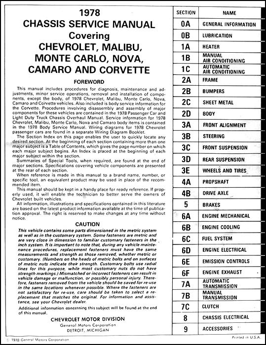 1978ChevyCarORM TOC 1978 chevy repair shop manual original camaro chevelle el camino 1978 el camino wiring diagram at readyjetset.co