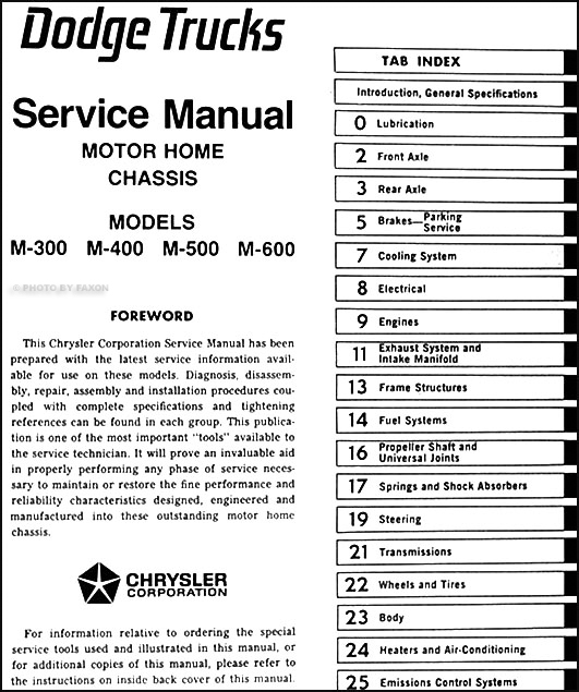 1978 1982 dodge motor home repair shop manual original m300 m400 table of contents asfbconference2016 Choice Image