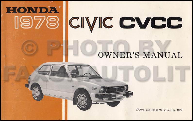 1978 Honda Civic Cvcc Owner's Manual Original Sedanhatchbackrhfaxonautoliterature: 1978 Honda Civic Wiring Diagram At Elf-jo.com