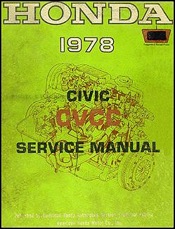 1978 honda civic cvcc repair shop manual original Honda Integra SRS Wiring Diagram 1978 honda civic cvcc repair manual original