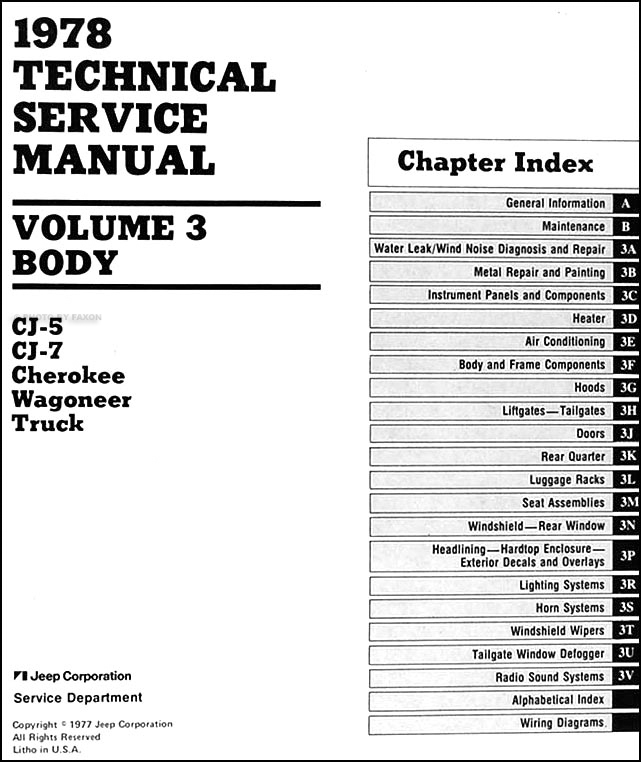 1978 jeep repair shop manual cj cherokee wagoneer j10 j20. Black Bedroom Furniture Sets. Home Design Ideas