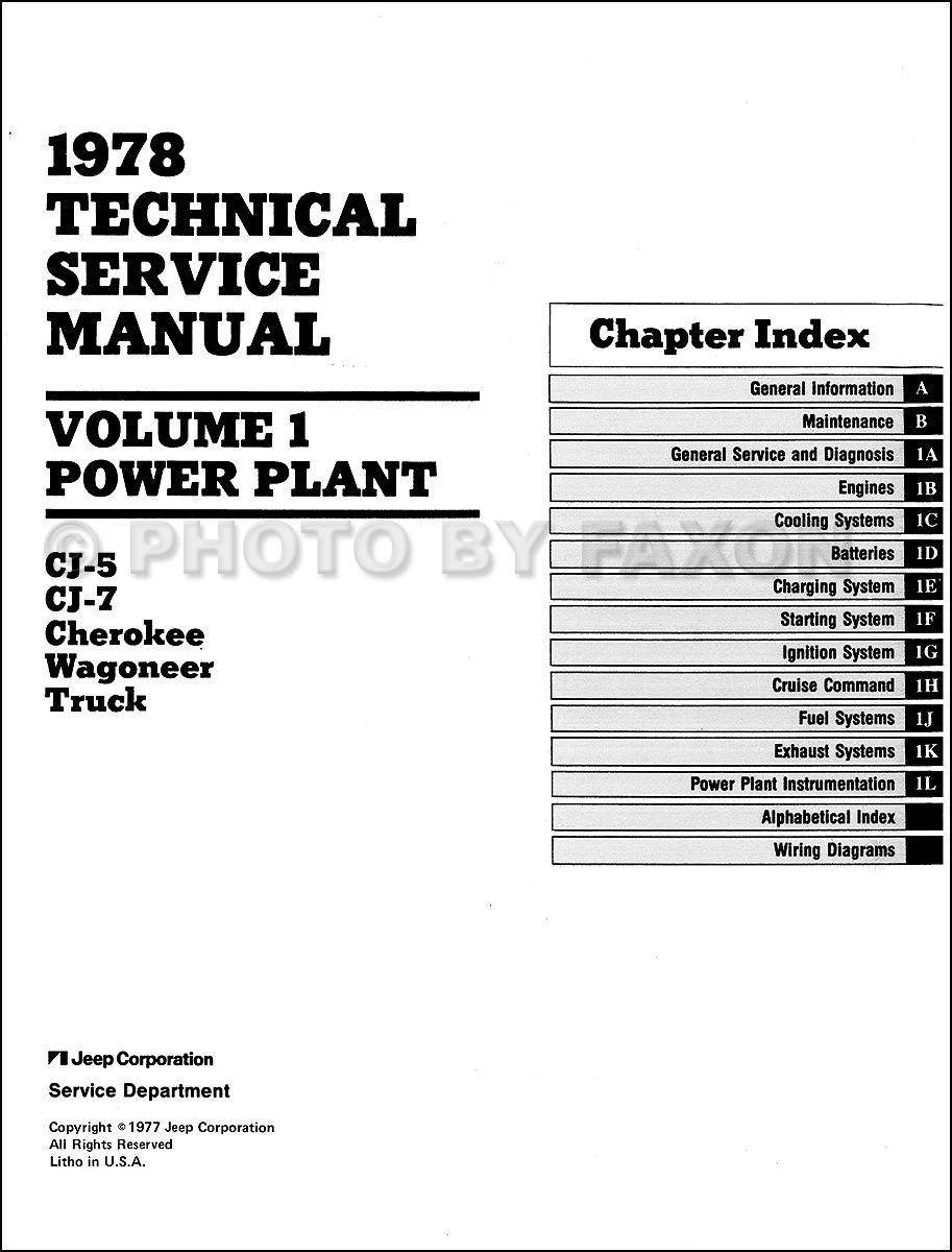 1978 jeep repair shop manual reprint