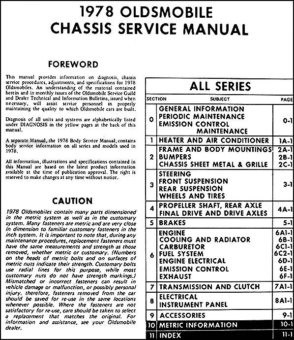 1978 Oldsmobile Repair Shop Manual Original All Seriesrhfaxonautoliterature: 1974 Oldsmobile Omega Wiring Diagram At Oscargp.net