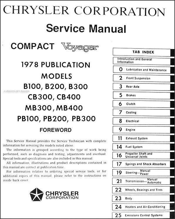 1978PlymouthVoyagerORM TOC 1978 dodge plymouth van repair shop manual original compact, voyager 1978 dodge motorhome wiring diagram at bayanpartner.co
