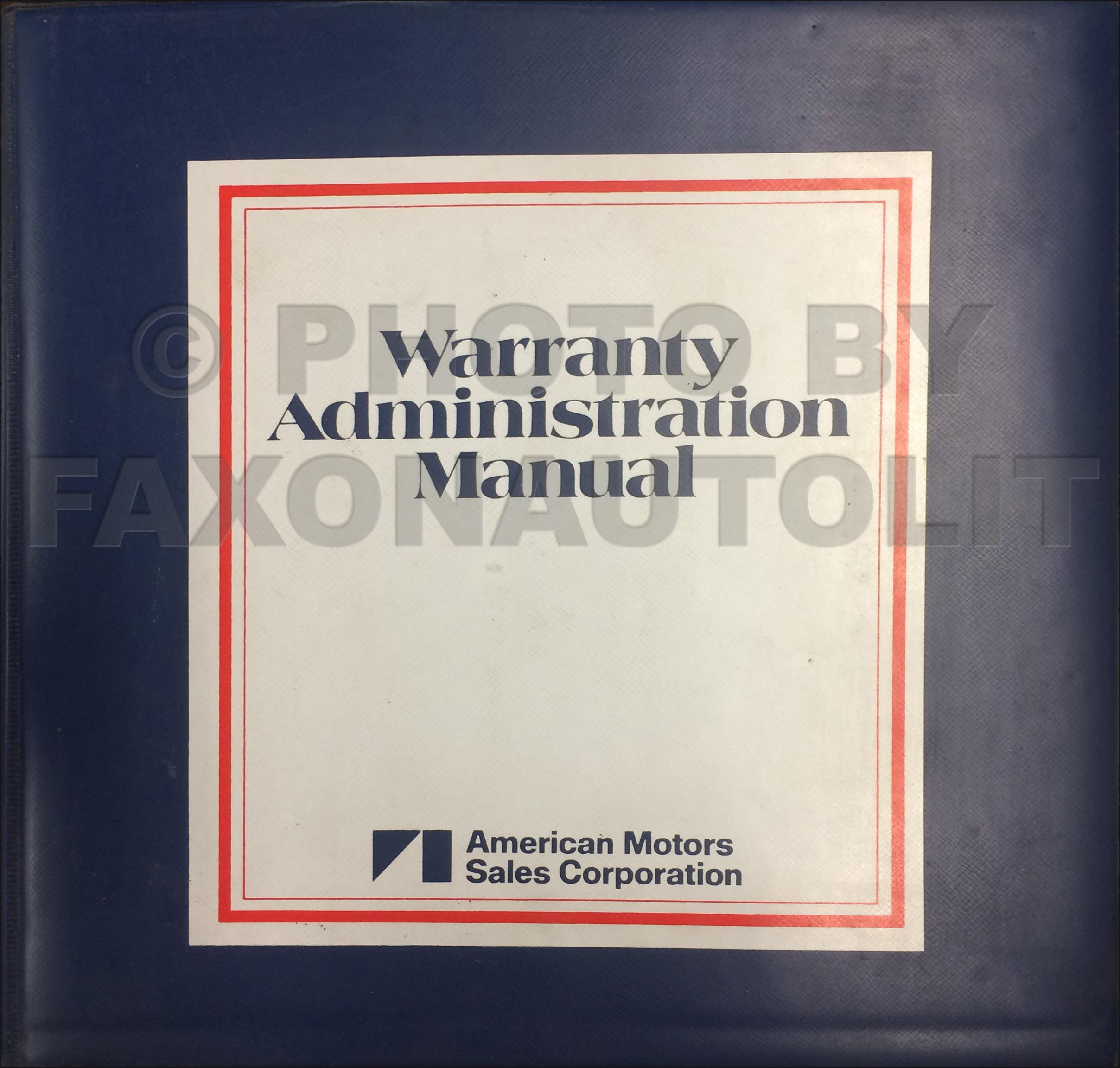 1973 1980 Amc Warranty Administration Manual Original Eagle Wiring Diagram 2005 Nissan Maxima Cd Rom Repair