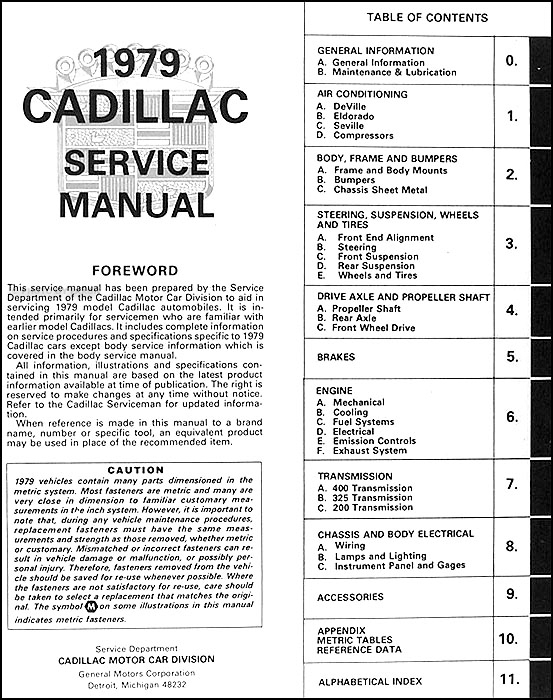 1979CadillacORM TOC 1979 cadillac repair shop manual original 1984 Seville at n-0.co