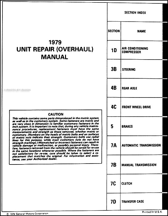 Details about 1979 Chevrolet Truck Transmission Overhaul Manual Pickup ...